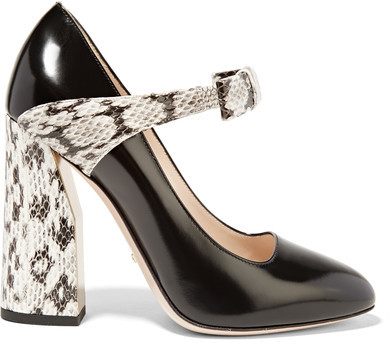 Gucci - Bow-embellished Elaphe And Leather Pumps - Black