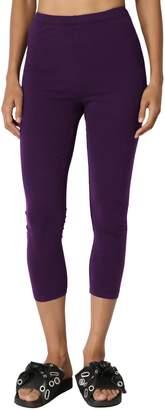 TheMogan Women's Basic Cotton Spandex Ankle Full Length Leggings Mocha S