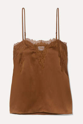 CAMI NYC The Sweetheart Lace-trimmed Silk-charmeuse Camisole - Brown