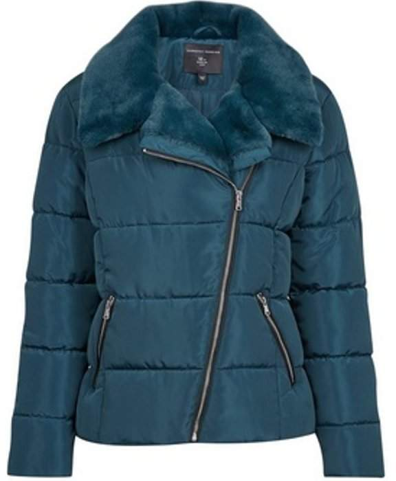 Womens Teal Asymmetric Faux Fur Collar Padded Jacket
