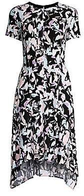 Donna Karan Women's Printed Short Sleeve Trapeze Dress