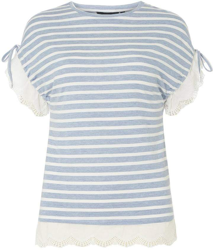 Chambray Striped Broderie T-Shirt