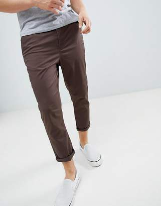 Asos DESIGN tapered cropped chinos in dark brown