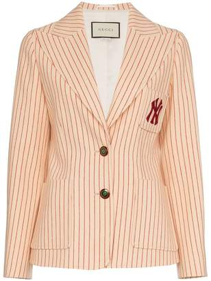 Gucci NY Yankees embroidered stripe print wool blazer