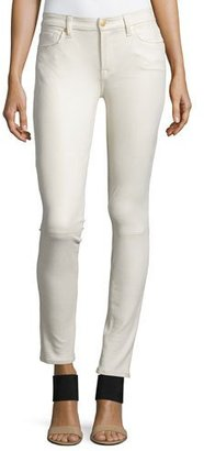 7 For All Mankind Faux-Leather Seamed Skinny Pants, Winter White $198 thestylecure.com