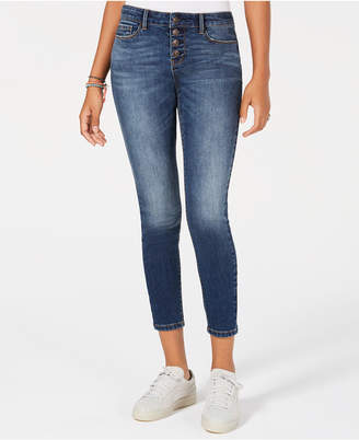 Vanilla Star Juniors' Button-Front Cropped Skinny Jeans