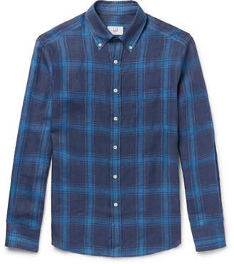Dunhill Button-Down Collar Checked Linen Shirt