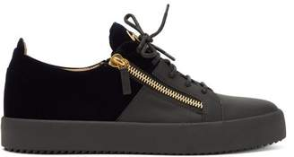 Giuseppe Zanotti Leather And Velvet Low Top Trainers - Mens - Black