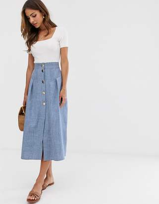 Asos Design DESIGN seamed chambray midi skirt with gold buttons