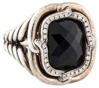 David Yurman Onyx & Diamond Labyrinth Ring