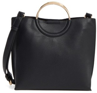 Bp. Metal Handle Faux Leather Crossbody Bag - Black $45 thestylecure.com