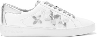 MICHAEL Michael Kors - Lola Appliquéd Metallic Leather Sneakers - White $140 thestylecure.com