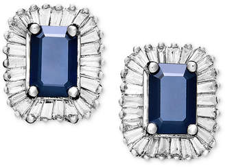 Effy Gemma by Sapphire (1-1/3 ct. t.w.) and Diamond (5/8 ct. t.w.) Rectangle Stud in 14k White Gold