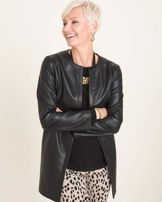 Chico's Chicos Black Faux-Leather Jacket
