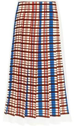 Victoria Beckham Pleated Checked Crepe Midi Skirt