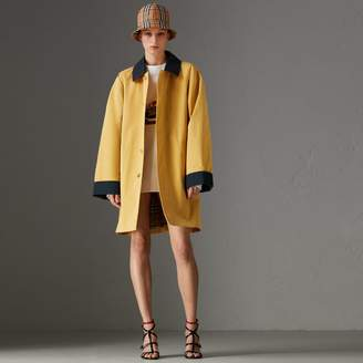 Burberry Reissued Waxed Cotton Gabardine Car Coat , Size: M, Yellow