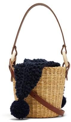 Muun Seau Wool And Woven Straw Bucket Bag - Womens - Navy