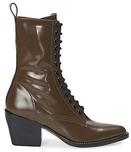 Chloé Women's Rylee Lace-Up Leather Mid-Calf Boots