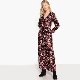 Vila Maxi Floral Print Wrapover Dress with Tie-Waist