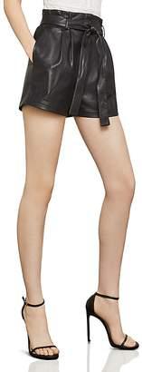 BCBGMAXAZRIA Faux Leather Paperbag-Waist Shorts