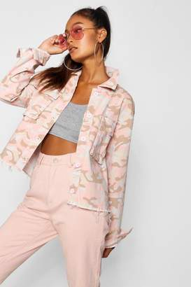 boohoo Nude Camo Raw Hem Denim Jacket