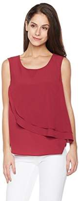 Suite Alice Women's Women's Sleeveless Drapey Crepe Blouse with Flowy Tiered Front Ruty