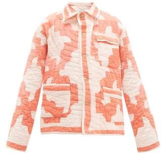 Bode - Patchwork Single Breasted Cotton Jacket - Womens - Orange