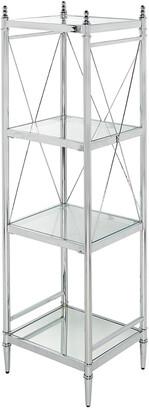Linon Pinnacle Chrome And Glass Four Tier Shelf
