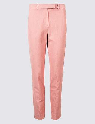 Marks and Spencer Cotton Rich Textured Slim Leg Trousers
