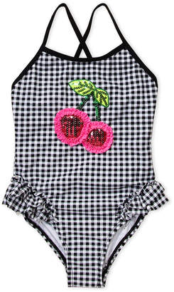 Flapdoodles Girls 4-6x) Cherry & Check One-Piece Swimsuit
