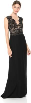 Tadashi Shoji Women's Sleeveless lace/Crepe Gown, Black/Nude