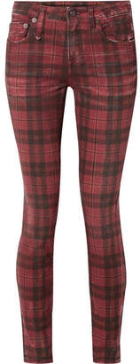 R 13 Kate Distressed Tartan Low-rise Skinny Jeans