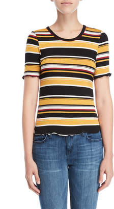 Almost Famous Striped Lettuce Trim Tee