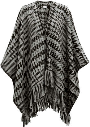 Pooltrend Houndstooth Fringe Poncho