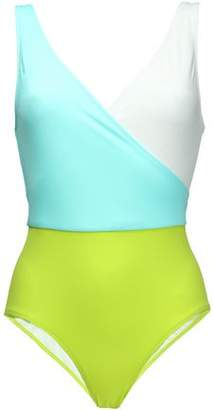 Solid & Striped The Ballerina Wrap-Effect Color-Block Swimsuit