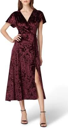 Tahari Panne Velvet Faux Wrap Dress