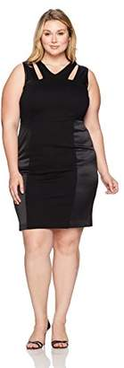 Nine West Women's Plus Size Solid Ponte and Satin Dress