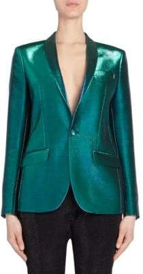Each X Other Women's Holographic Tuxedo Jacket - Green - Size Small