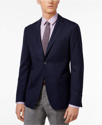 Dkny Men's Slim-Fit Dark Blue Check Sport Coat $350 thestylecure.com