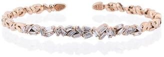 Suzanne Kalan 18K Rose Gold and diamond Fireworks ZigZag Baguette Bangle
