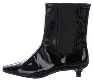 Salvatore Ferragamo Patent Leather Round-Toe Ankle Boots