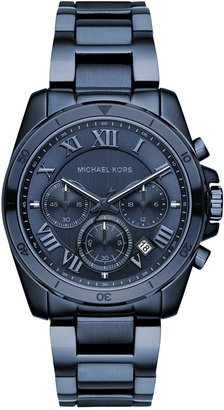 Michael Kors Women's Chronograph Brecken Blue Ion-Plated Stainless Steel Bracelet Watch 40mm MK6361 $275 thestylecure.com