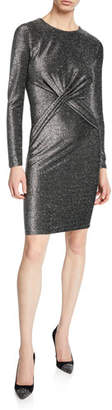 MICHAEL Michael Kors Long-Sleeve Twist-Waist Metallic Dress