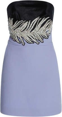 David Koma Crystal And Feather Embroidered Strapless Dress