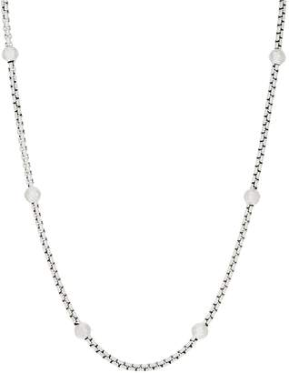 "Jai JAI Sterling Silver Station 3.7mm Box Chain 18"" Necklace, 30.5g"