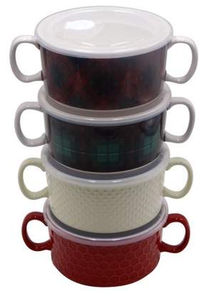 Mainstays 4-pack Double Handle Soup Bowl with lid