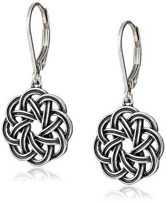 Celtic Sterling Silver Oxidized Knot Leverback Dangle Earrings