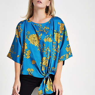 River Island Petite blue floral tie front blouse