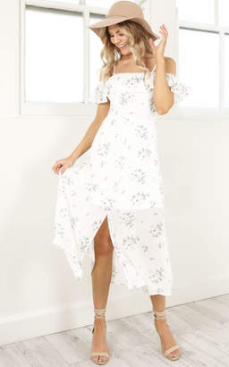 Showpo Beauty And The Beast dress in white floral