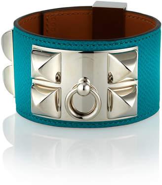e7b294f6f04 Hermes Estate Leather Bracelet w\/ Studs Green